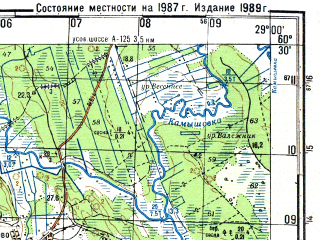 Reduced fragment of topographic map ru--gs--050k--p35-130-3_4--N060-30_E028-30--N060-20_E029-00; towns and cities Klyuchevoye, Krasnaya Niva, Primorsk