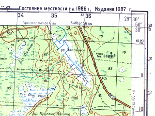 Reduced fragment of topographic map ru--gs--050k--p35-131-3_4--N060-30_E029-00--N060-20_E029-30; towns and cities Kirillovskoye