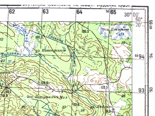 Reduced fragment of topographic map ru--gs--050k--p35-144-1_2--N060-20_E029-30--N060-10_E030-00; towns and cities Zelenogorsk, Repino