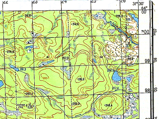 Reduced fragment of topographic map ru--gs--050k--p36-003-1_2--N064-00_E031-00--N063-50_E031-30