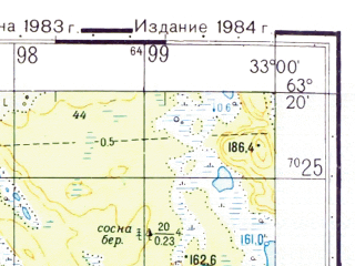 Reduced fragment of topographic map ru--gs--050k--p36-030-1_2--(1983)--N063-20_E032-30--N063-10_E033-00