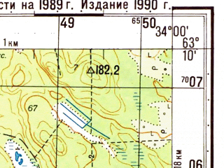 Reduced fragment of topographic map ru--gs--050k--p36-032-3_4--(1989)--N063-10_E033-30--N063-00_E034-00