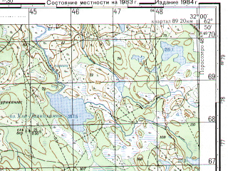 Reduced fragment of topographic map ru--gs--050k--p36-040-3_4--N062-50_E031-30--N062-40_E032-00; towns and cities Salmijarvi