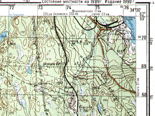 Reduced fragment of topographic map ru--gs--050k--p36-045-3_4--N062-50_E034-00--N062-40_E034-30