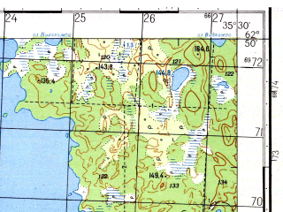 Reduced fragment of topographic map ru--gs--050k--p36-047-3_4--N062-50_E035-00--N062-40_E035-30