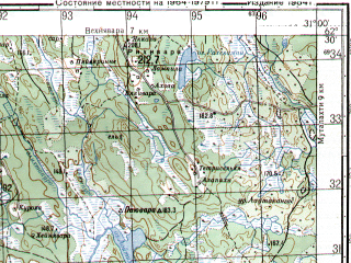 Reduced fragment of topographic map ru--gs--050k--p36-050-3_4--N062-30_E030-30--N062-20_E031-00; towns and cities Tuupovaara