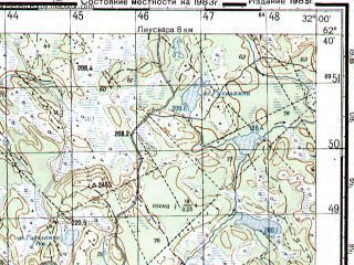 Reduced fragment of topographic map ru--gs--050k--p36-052-1_2--N062-40_E031-30--N062-30_E032-00