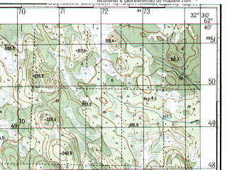 Reduced fragment of topographic map ru--gs--050k--p36-053-1_2--N062-40_E032-00--N062-30_E032-30