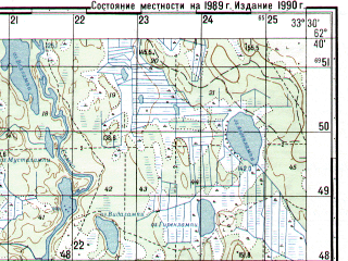 Reduced fragment of topographic map ru--gs--050k--p36-055-1_2--N062-40_E033-00--N062-30_E033-30
