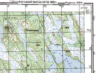 Reduced fragment of topographic map ru--gs--050k--p36-063-1_2--N062-20_E031-00--N062-10_E031-30