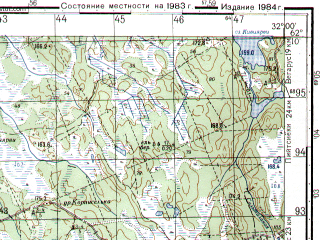 Reduced fragment of topographic map ru--gs--050k--p36-064-3_4--N062-10_E031-30--N062-00_E032-00