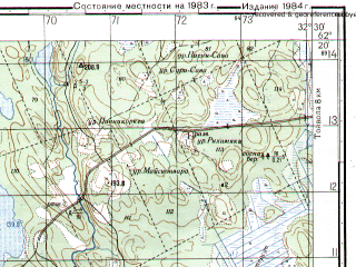 Reduced fragment of topographic map ru--gs--050k--p36-065-1_2--N062-20_E032-00--N062-10_E032-30