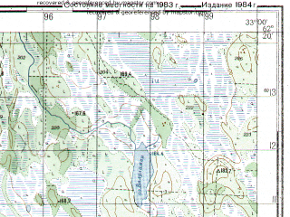 Reduced fragment of topographic map ru--gs--050k--p36-066-1_2--N062-20_E032-30--N062-10_E033-00