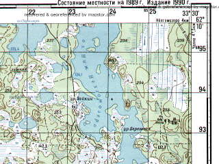 Reduced fragment of topographic map ru--gs--050k--p36-067-3_4--N062-10_E033-00--N062-00_E033-30