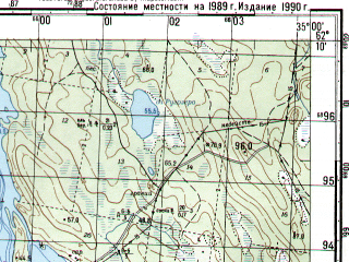 Reduced fragment of topographic map ru--gs--050k--p36-070-3_4--N062-10_E034-30--N062-00_E035-00; towns and cities Kulmuska