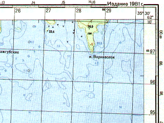 Reduced fragment of topographic map ru--gs--050k--p36-071-3_4--N062-10_E035-00--N062-00_E035-30; towns and cities Oyatevshchina