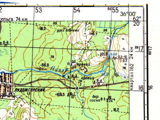 Reduced fragment of topographic map ru--gs--050k--p36-072-1_2--N062-20_E035-30--N062-10_E036-00