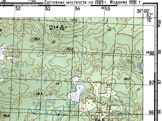 Reduced fragment of topographic map ru--gs--050k--p36-072-3_4--N062-10_E035-30--N062-00_E036-00