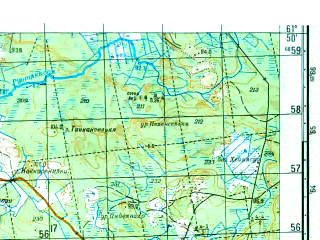 Reduced fragment of topographic map ru--gs--050k--p36-075-3_4--N061-50_E031-00--N061-40_E031-30