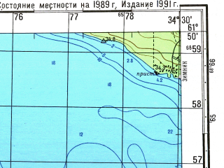 Reduced fragment of topographic map ru--gs--050k--p36-081-3_4--(1991)--N061-50_E034-00--N061-40_E034-30; towns and cities Petrozavodsk