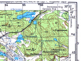 Reduced fragment of topographic map ru--gs--050k--p36-085-1_2--N061-40_E030-00--N061-30_E030-30; towns and cities Lakhdenpokh'ya