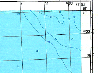 Reduced fragment of topographic map ru--gs--050k--p36-086-3_4--N061-30_E030-30--N061-20_E031-00