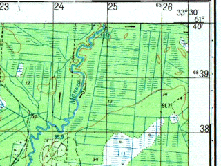 Reduced fragment of topographic map ru--gs--050k--p36-091-1_2--N061-40_E033-00--N061-30_E033-30