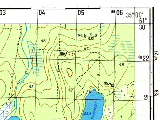 Reduced fragment of topographic map ru--gs--050k--p36-094-3_4--N061-30_E034-30--N061-20_E035-00