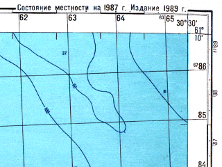 Reduced fragment of topographic map ru--gs--050k--p36-097-3_4--N061-10_E030-00--N061-00_E030-30; towns and cities Priozersk