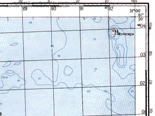 Reduced fragment of topographic map ru--gs--050k--p36-098-1_2--N061-20_E030-30--N061-10_E031-00