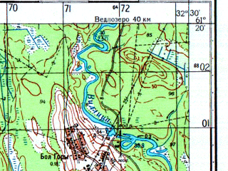 Reduced fragment of topographic map ru--gs--050k--p36-101-1_2--N061-20_E032-00--N061-10_E032-30; towns and cities Bolshiye Gory, Vidlitsa