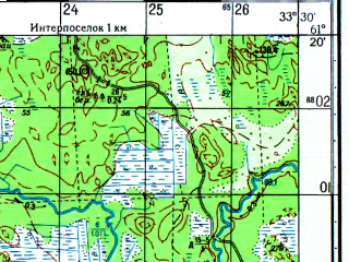 Reduced fragment of topographic map ru--gs--050k--p36-103-1_2--N061-20_E033-00--N061-10_E033-30