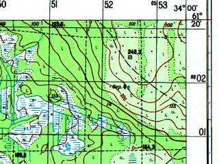 Reduced fragment of topographic map ru--gs--050k--p36-104-1_2--N061-20_E033-30--N061-10_E034-00