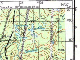 Reduced fragment of topographic map ru--gs--050k--p36-105-1_2--N061-20_E034-00--N061-10_E034-30