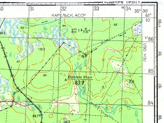 Reduced fragment of topographic map ru--gs--050k--p36-107-3_4--N061-10_E035-00--N061-00_E035-30; towns and cities Voznesen'ye