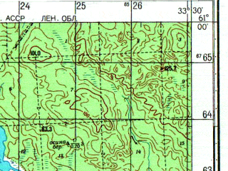 Reduced fragment of topographic map ru--gs--050k--p36-115-1_2--N061-00_E033-00--N060-50_E033-30