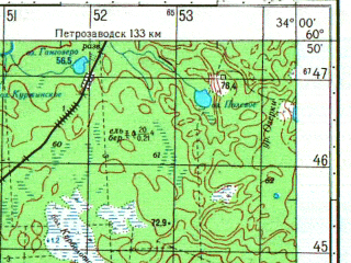 Reduced fragment of topographic map ru--gs--050k--p36-116-3_4--N060-50_E033-30--N060-40_E034-00; towns and cities Lodeynoye Pole, Svir'stroy