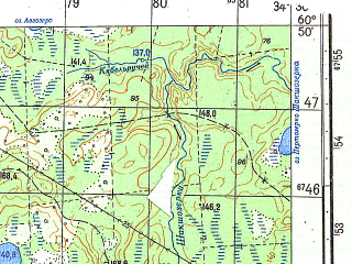 Reduced fragment of topographic map ru--gs--050k--p36-117-3_4--N060-50_E034-00--N060-40_E034-30
