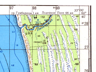 Reduced fragment of topographic map ru--gs--050k--p36-126-1_2--N060-40_E032-30--N060-30_E033-00