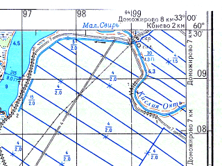 Reduced fragment of topographic map ru--gs--050k--p36-126-3_4--N060-30_E032-30--N060-20_E033-00; towns and cities Sviritsa