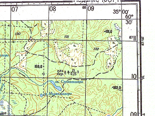 Reduced fragment of topographic map ru--gs--050k--p36-130-3_4--N060-30_E034-30--N060-20_E035-00