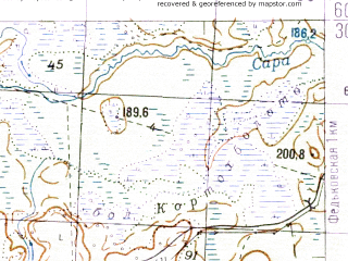 Reduced fragment of topographic map ru--gs--050k--p36-132-3_4--N060-30_E035-30--N060-20_E036-00