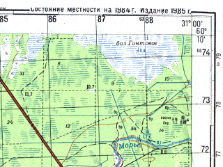 Reduced fragment of topographic map ru--gs--050k--p36-134-3_4--N060-10_E030-30--N060-00_E031-00; towns and cities Vsevolozhsk, Rakh'ya, Toksovo, Uglovo
