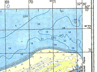 Reduced fragment of topographic map ru--gs--050k--p36-137-3_4--N060-10_E032-00--N060-00_E032-30; towns and cities Novaya Ladoga