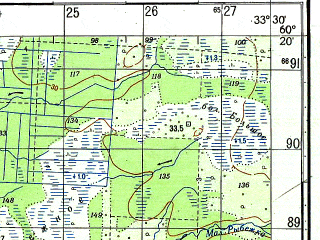 Reduced fragment of topographic map ru--gs--050k--p36-139-1_2--N060-20_E033-00--N060-10_E033-30