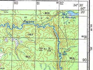 Reduced fragment of topographic map ru--gs--050k--p36-141-1_2--N060-20_E034-00--N060-10_E034-30; towns and cities Gabardusa