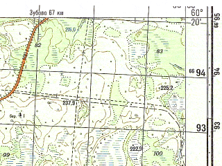 Reduced fragment of topographic map ru--gs--050k--p36-144-1_2--N060-20_E035-30--N060-10_E036-00; towns and cities Kransnaya Gora