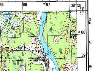 Reduced fragment of topographic map ru--gs--050k--p37-073-3_4--N061-50_E036-00--N061-40_E036-30; towns and cities Besov Nos, Shal'skiy