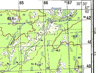 Reduced fragment of topographic map ru--gs--050k--p37-085-1_2--N061-40_E036-00--N061-30_E036-30
