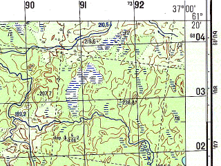 Reduced fragment of topographic map ru--gs--050k--p37-098-1_2--N061-20_E036-30--N061-10_E037-00